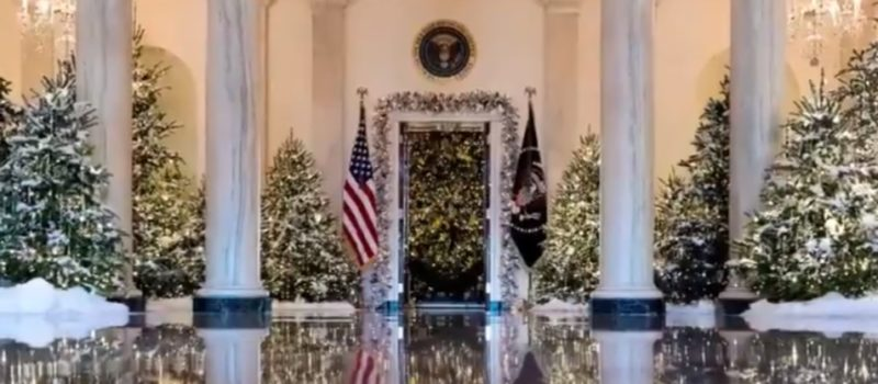 First lady melania trump unveils white house christmas decorations videos photos